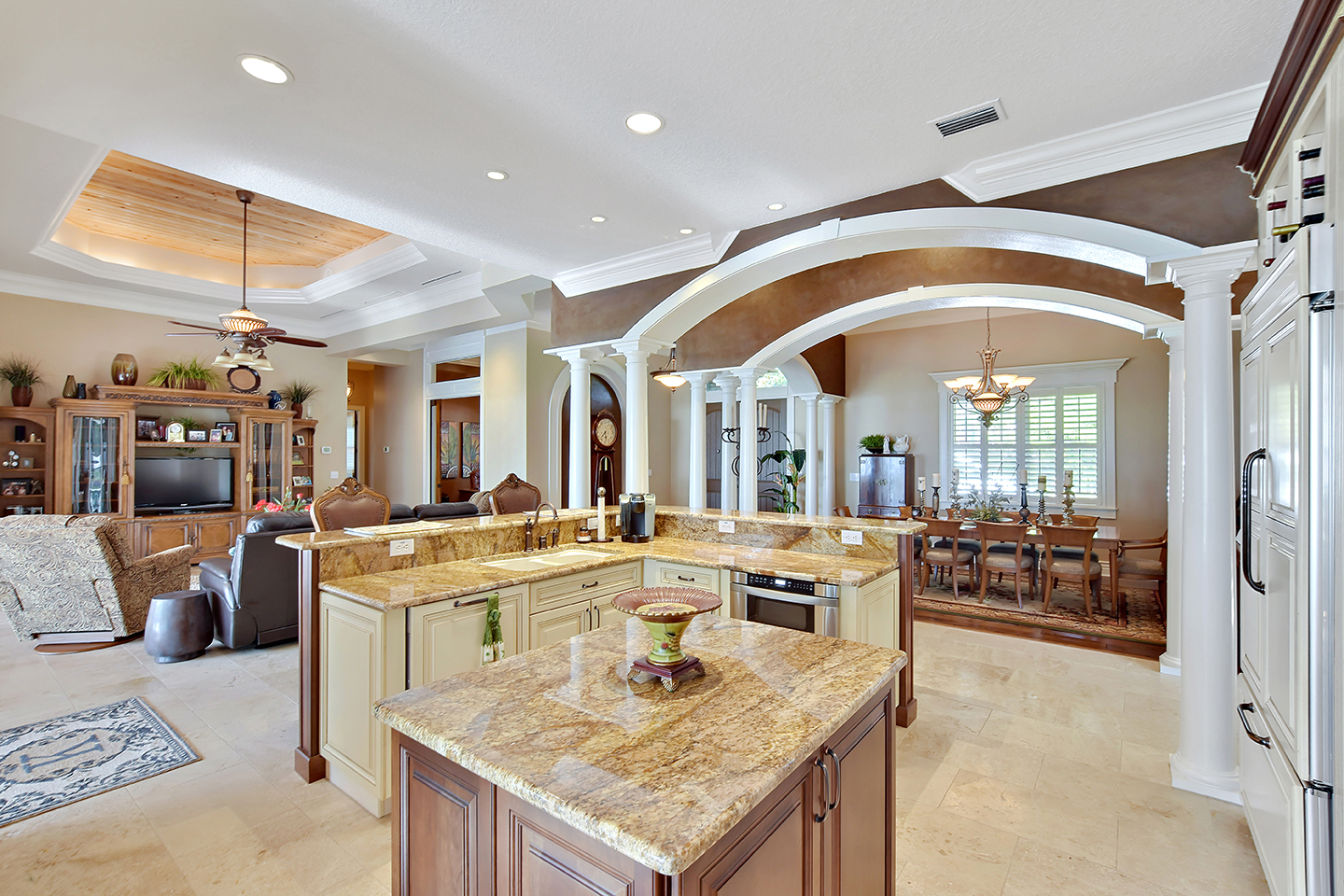 image of kitchen, living room & dining room of luxury home