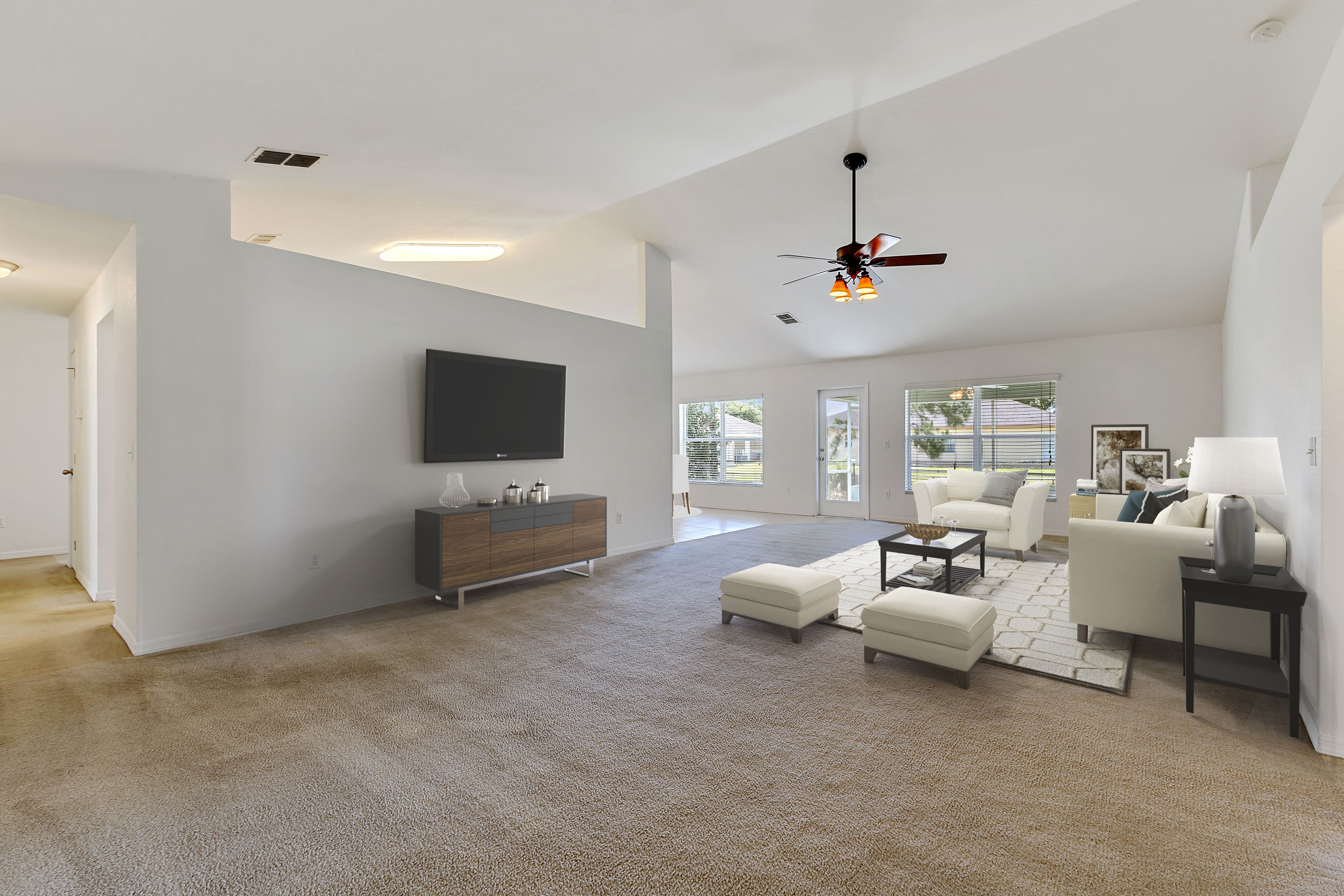 image of virtual staging a living room