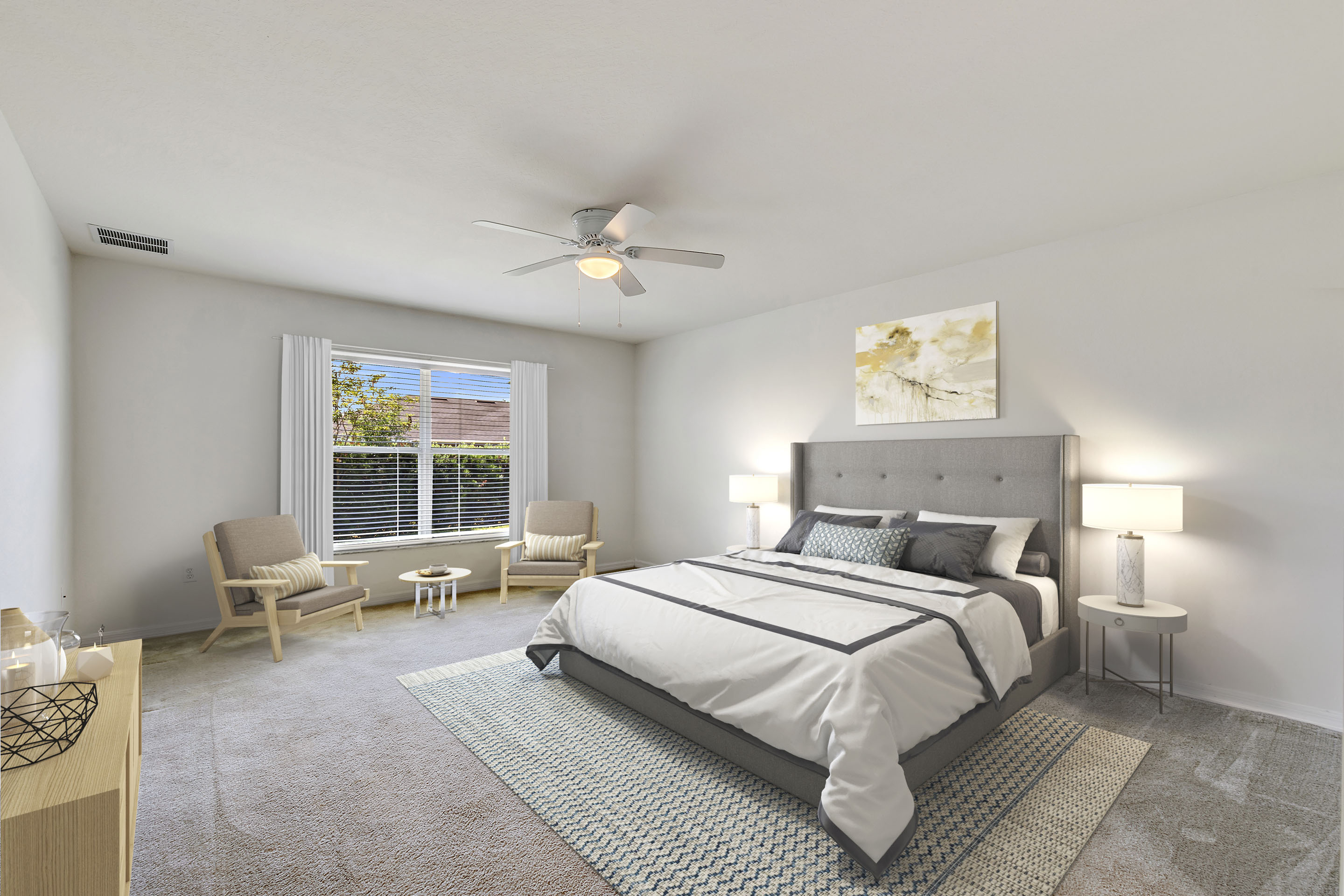image of virtual staging a bedroom