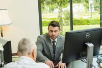 image of accountant working with client