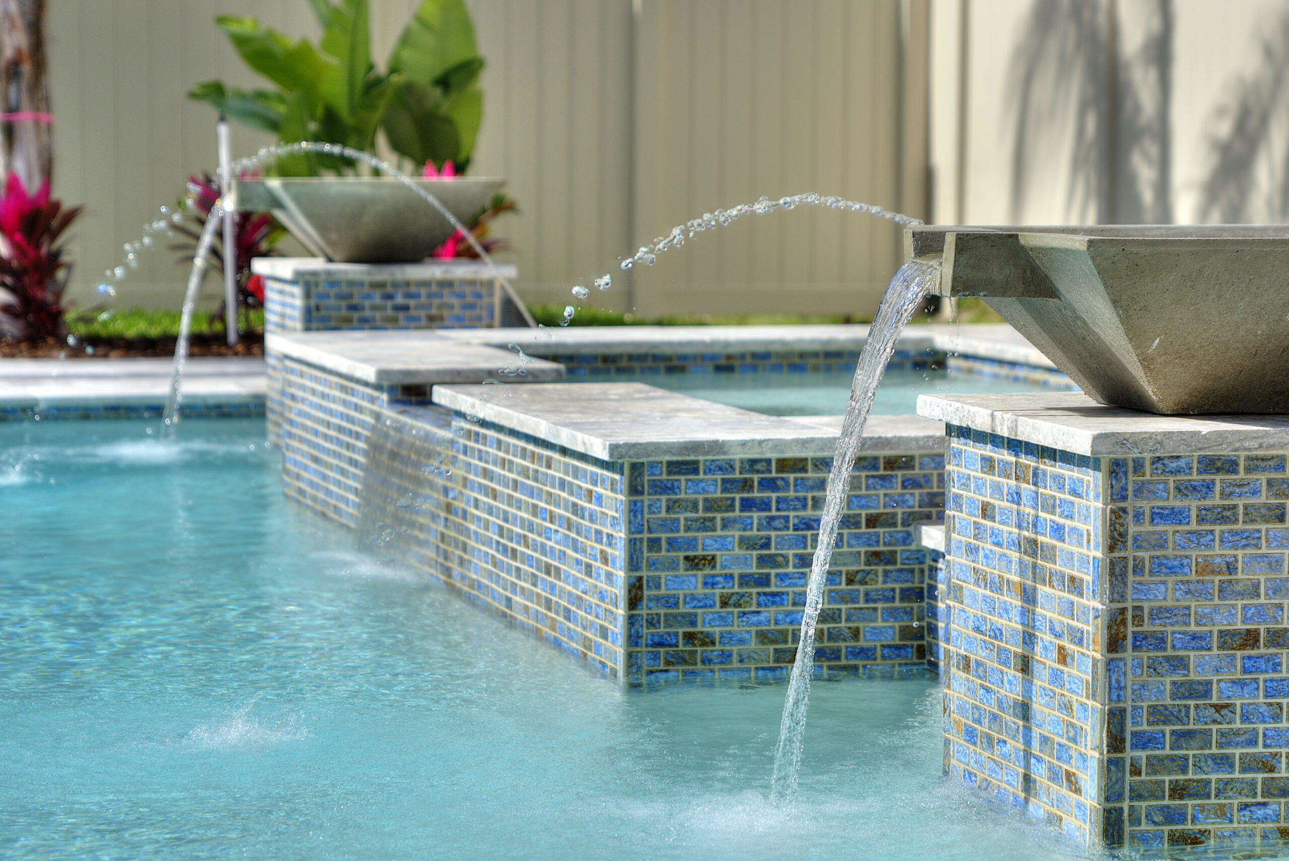 image of pool fountain of luxury home