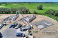 aerial image of home construction