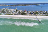 aerial image of beach house on the gulf of mexico