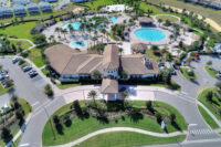 aerial image of resort clubhouse pool area front view
