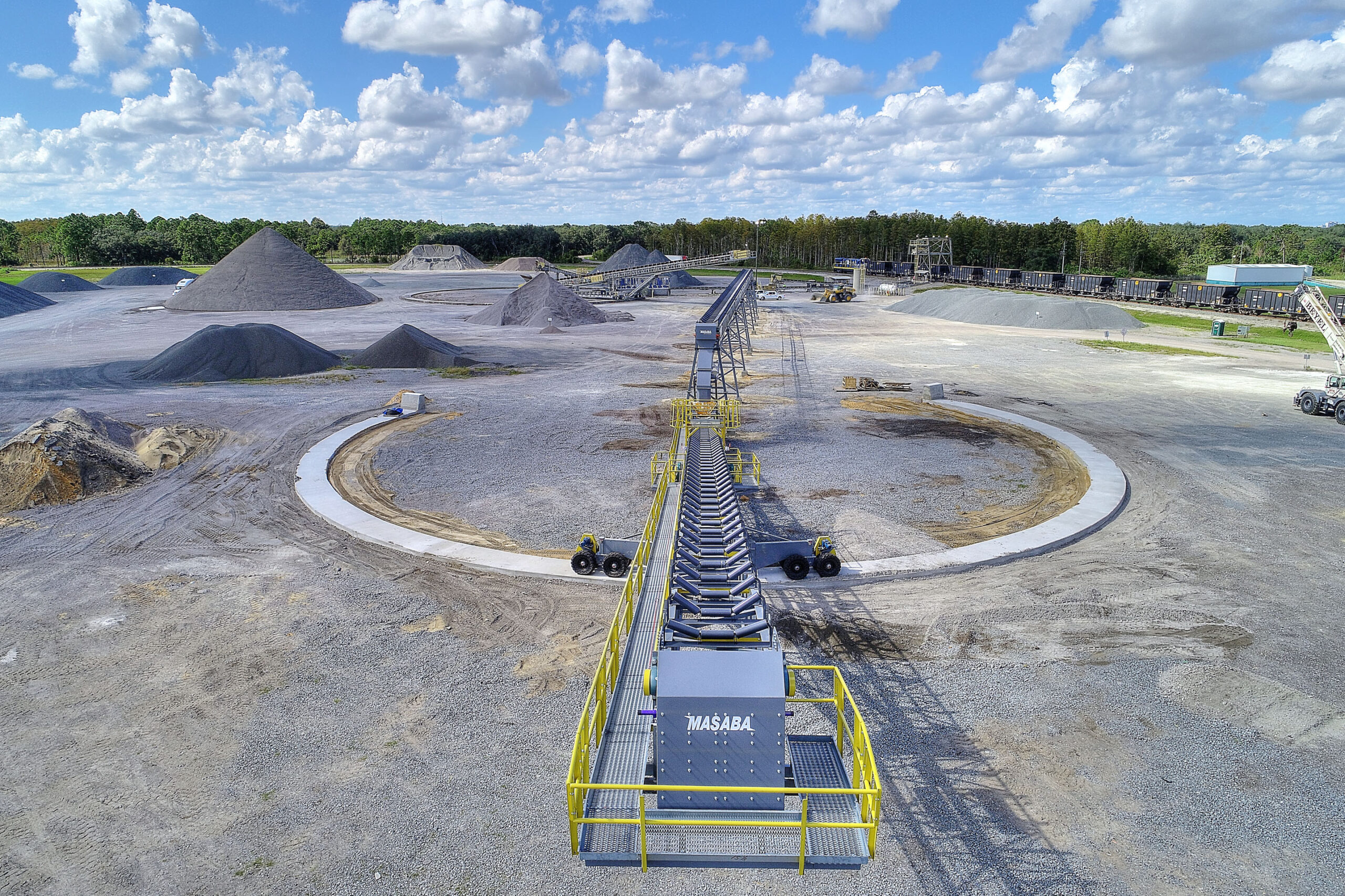 aerial image of aggregate conveyor construction project