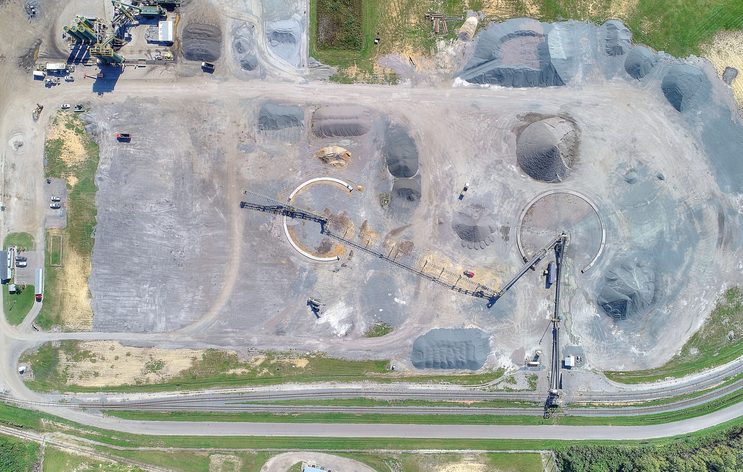straight down aerial image of aggregate conveyor construction project